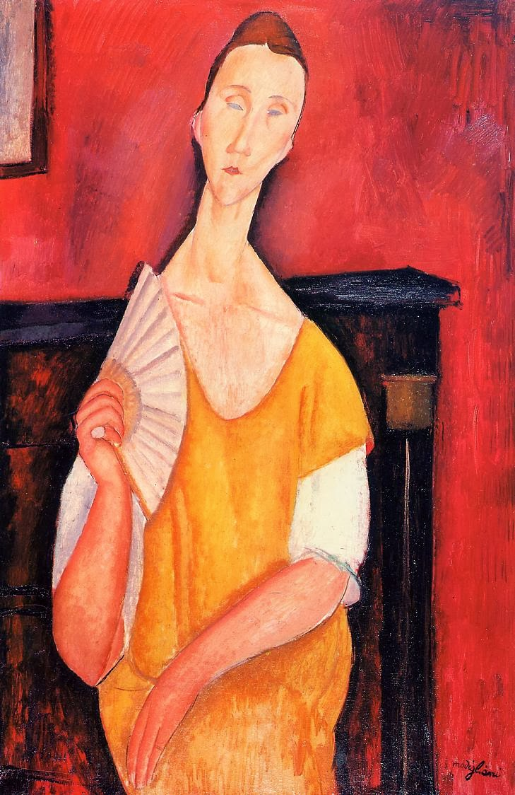 1919-amadeo modigliani-woman-with-a-fan-lunia-czechowska