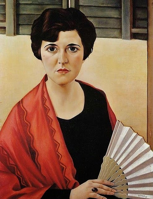 1920-schad-unknown-woman-with-fan Christian Schad (1920)