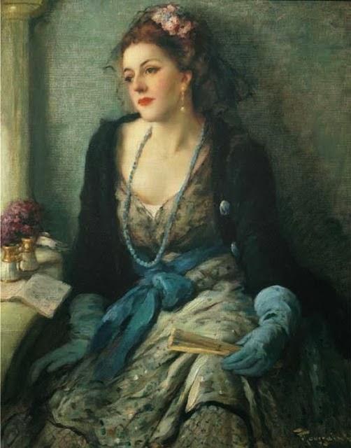 1920un-Fernand Toussaint Femme élégante à l'opéra