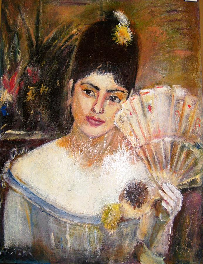 Woman With A Fan Print by Esraghi