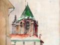 Stanisław-Tondos-1854-1917-Widok-na-Mały-Rynek-i-Kościół-Mariacki-akwarela