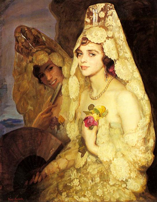 Two Elegant Ladies Holding Fans - Pedro Antonio 828