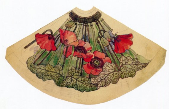 Fan-shaped Poppy Watercolor Study, designed by Clara Driscoll, watercolored by Alice Gouvy
