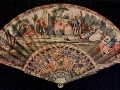 Vintage Fan 18th Century English, painted with mask